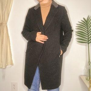 ASOS Boyfriend Black Grey Pea Coat w/ Zip Pockets